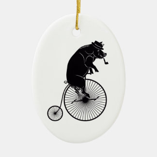 Pig Riding on a Vintage Bicycle Ceramic Ornament