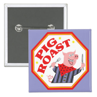 Pig Roast 2 Inch Square Button