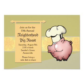 """Pig Roast Invitation 5"""" X 7"""" Invitation Card"""
