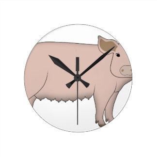 pig round clock