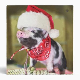 Pig santa claus - christmas pig - piglet binder