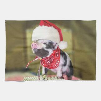 Pig santa claus - christmas pig - piglet kitchen towel