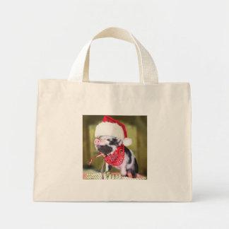 Pig santa claus - christmas pig - piglet mini tote bag