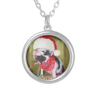 Pig santa claus - christmas pig - piglet silver plated necklace