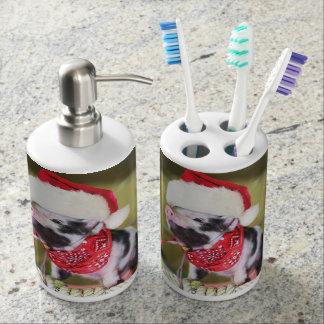 Pig santa claus - christmas pig - piglet soap dispenser and toothbrush holder
