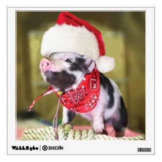 Pig santa claus - christmas pig - piglet wall decal