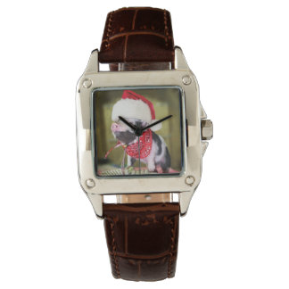 Pig santa claus - christmas pig - piglet watch