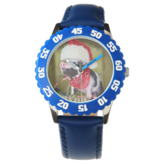 Pig santa claus - christmas pig - piglet watch