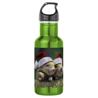 Pig santa claus - christmas pig - three pigs 532 ml water bottle