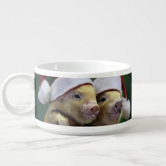 Pig santa claus - christmas pig - three pigs bowl