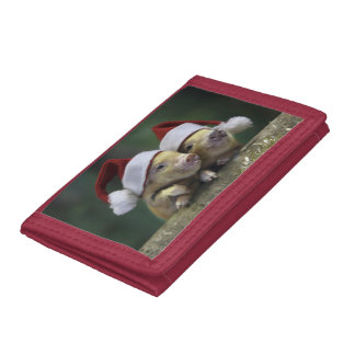Pig santa claus - christmas pig - three pigs trifold wallet