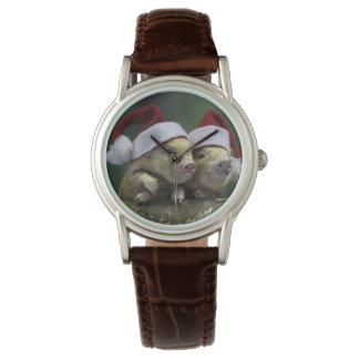 Pig santa claus - christmas pig - three pigs watch