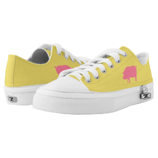 Pig Silhouette Pink and Yellow Low-Top Sneakers