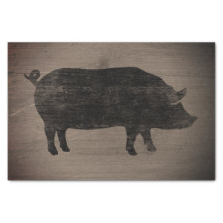 Pig Silhouette Rustic Style Tissue Paper