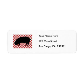 Pig Silo on Red and White Checkered Fabric Return Address Label