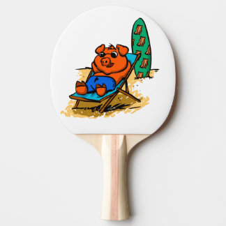 Pig sunbathing on the beach ping pong paddle