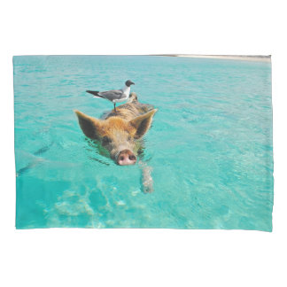 Pig Swimming with Gull Standard Pillow Case Pillowcase