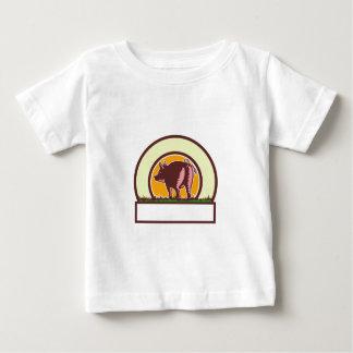 Pig Tail Rear Circle Woodcut Baby T-Shirt