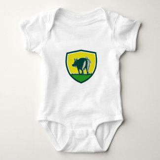 Pig Tail Rear Crest Woodcut Baby Bodysuit