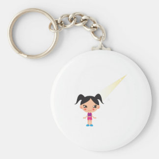 Pig Tails Girl Basic Round Button Keychain