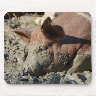 Pig Taking A Mud Bath Mouse Pad