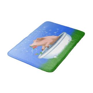 Pig Taking Bath Bath Mat