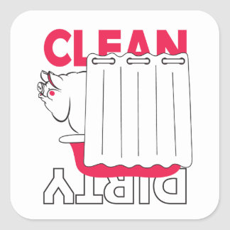 pig taking bath - Clean or Dirty Square Sticker