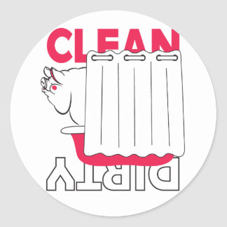 pig taking bath - Clean or Dirty Round Stickers