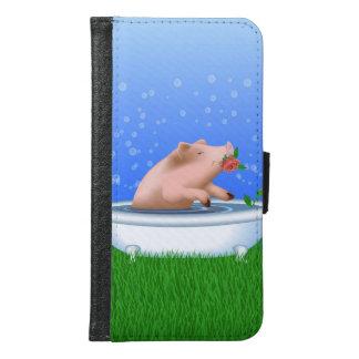 Pig Taking Bath Samsung Galaxy S6 Wallet Case