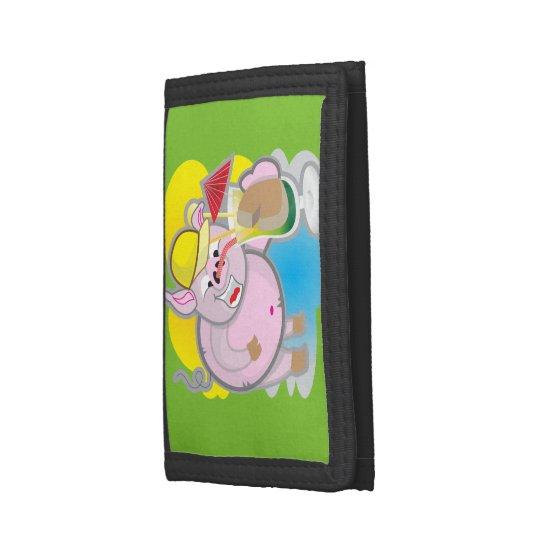 Pig tyfold nylon wallet