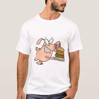 Pig With A Burger Mens T-Shirt