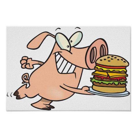Pig With A Burger Poster