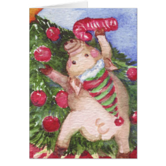 Pig with a Candy Cane admiring Christmas Tree Card