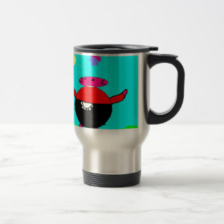 pig with flower & butterfly in sun, art by kids :) travel mug