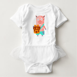 Pig With Party Attributes Girly Stylized Funky Baby Bodysuit