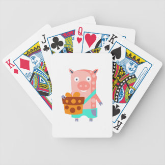 Pig With Party Attributes Girly Stylized Funky Bicycle Playing Cards
