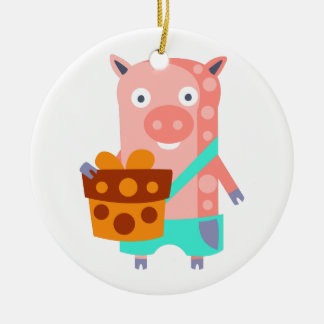 Pig With Party Attributes Girly Stylized Funky Ceramic Ornament
