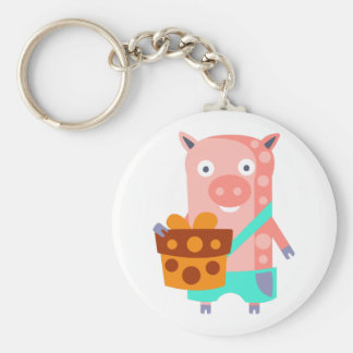 Pig With Party Attributes Girly Stylized Funky Keychain