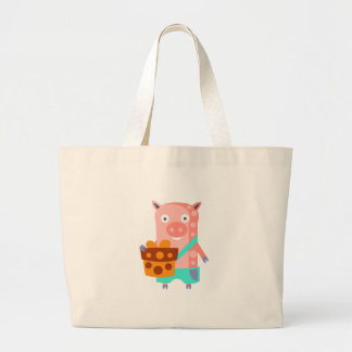 Pig With Party Attributes Girly Stylized Funky Large Tote Bag