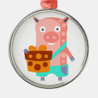 Pig With Party Attributes Girly Stylized Funky Metal Ornament