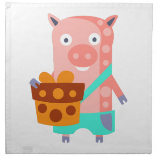 Pig With Party Attributes Girly Stylized Funky Napkin