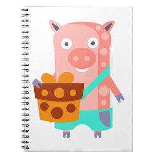 Pig With Party Attributes Girly Stylized Funky Notebook