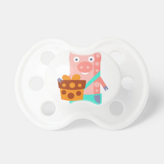 Pig With Party Attributes Girly Stylized Funky Pacifier