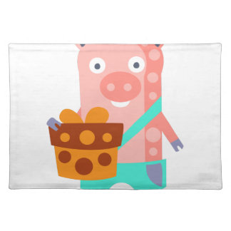 Pig With Party Attributes Girly Stylized Funky Placemat