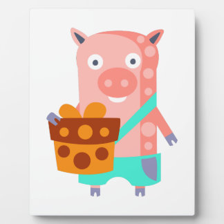 Pig With Party Attributes Girly Stylized Funky Plaque
