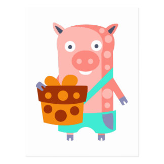 Pig With Party Attributes Girly Stylized Funky Postcard