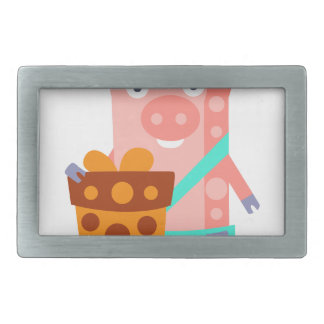 Pig With Party Attributes Girly Stylized Funky Rectangular Belt Buckles