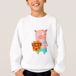 Pig With Party Attributes Girly Stylized Funky Sweatshirt