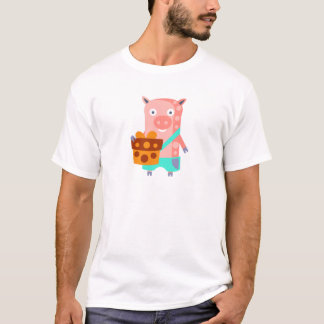 Pig With Party Attributes Girly Stylized Funky T-Shirt