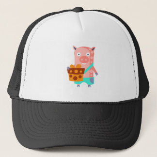 Pig With Party Attributes Girly Stylized Funky Trucker Hat